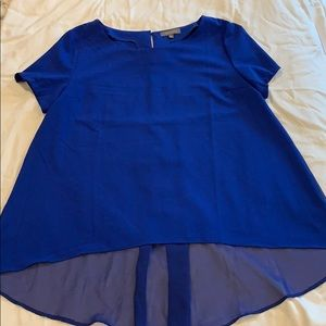 Blue short sleeved blouse